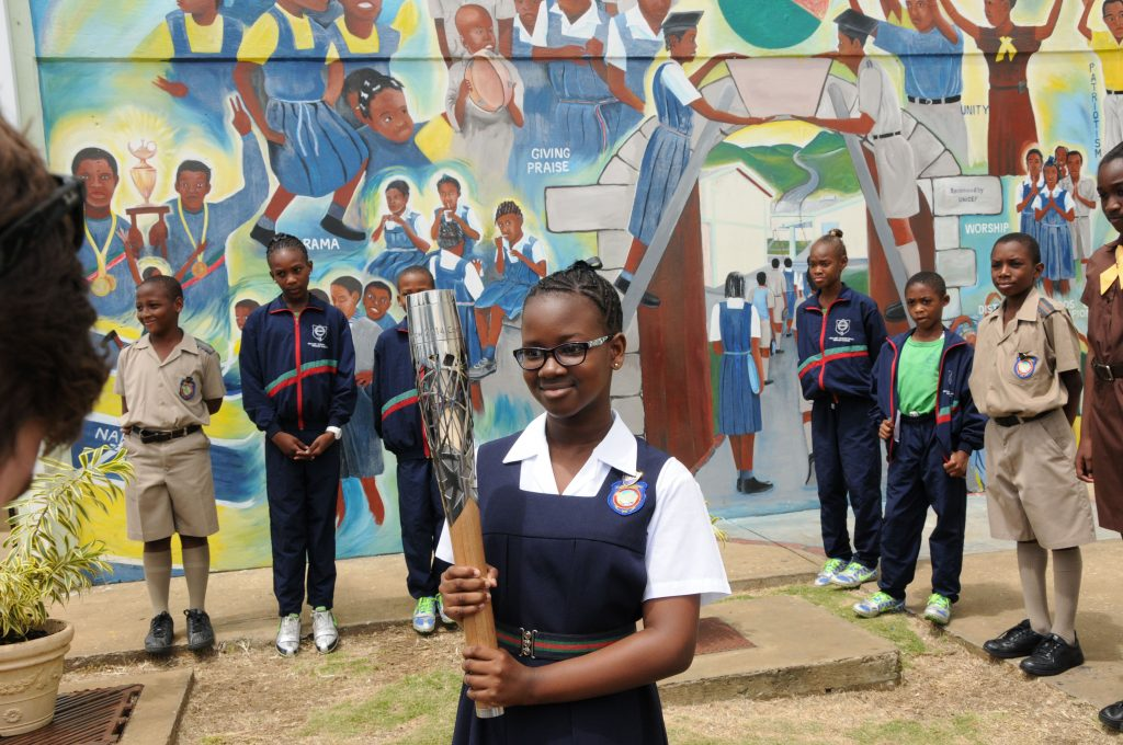 Head Girl, Jade Stevenson, accepting the Baton at Hillaby Turner's Hall Primary