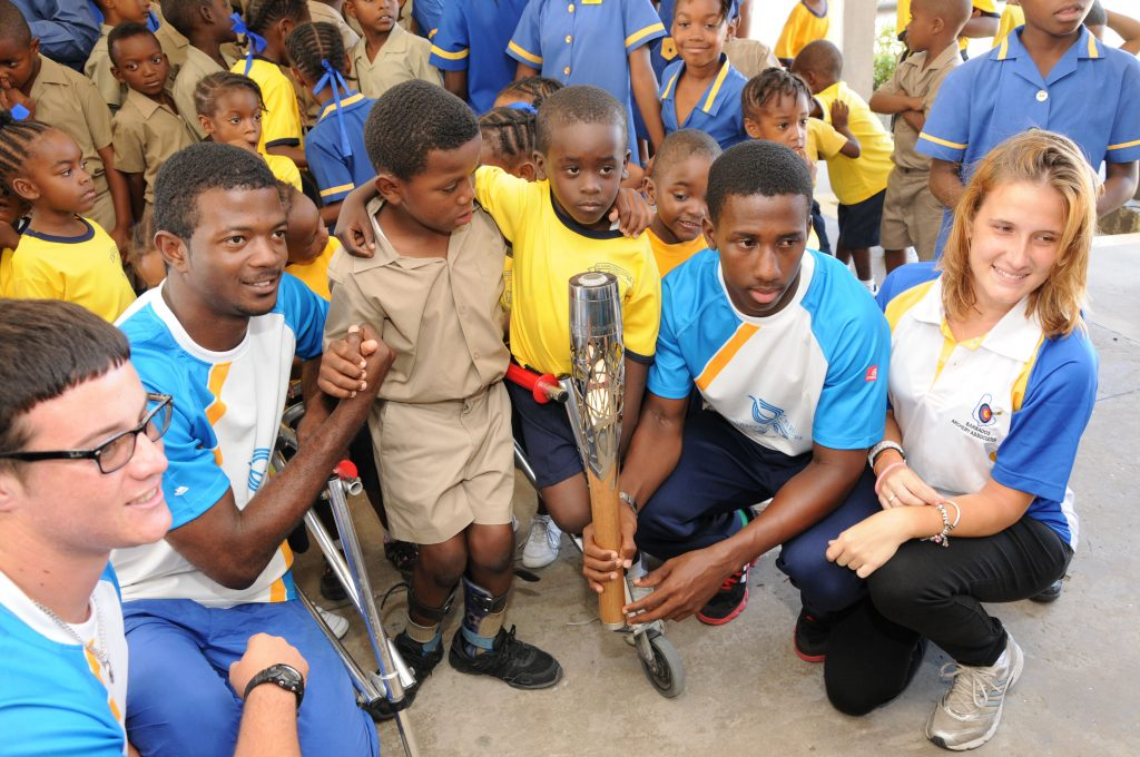 National athletes with students at St. Elizabeth