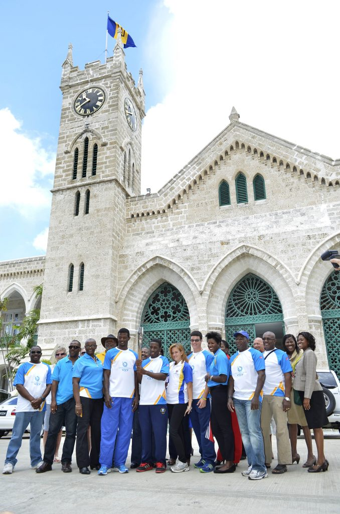 The tour group standing outside of the historic Parliament Buildings