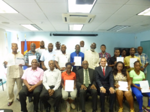 Table tennis coaches with their certificates in Barbados