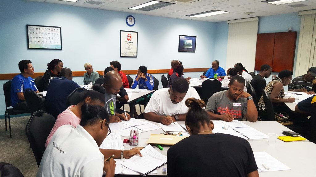 NCCP Level 2 particpants in action at Barbados Olympic Centre